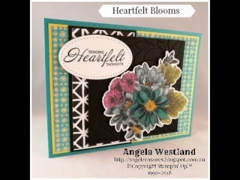Heartfelt Blooms Layered Card coloured with Stampin' Blends