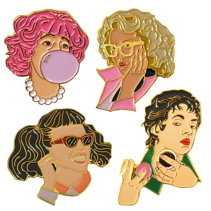 "Grease Pins All+four+Pink+Ladies+as+Soft+Enamel+Pins.+Measure+1.5-1.75""+in+height.+Rubber+Clutches."