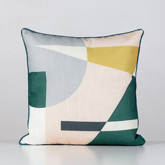 Abstract Cushion with Green Piping