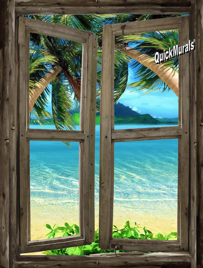 1209 best bonitas ventanas images on pinterest bamboo for Beach mural painting