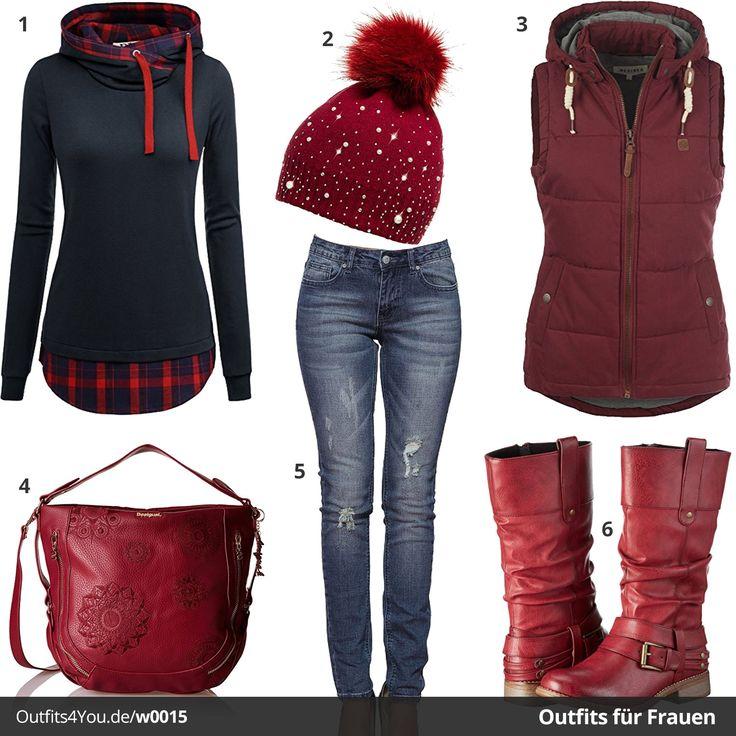 Blau-Rotes Outfit für Damen mit DJI Kapuzenpulli, Caspar Mütze, Weste von Desires, Tasche von Desigual, Jeans und roten Rieker Boots. Jetzt ansehen!