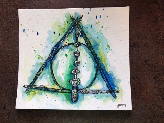 Water Paint Deathly Hallows Tattoo