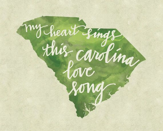 I spent a lot of time in South Carolina visiting my grandparents and miss them every day. Love this print. :: Carolina Love Song print by kristenvasgaard on Etsy