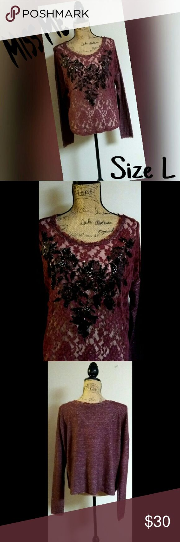 🆕MISS ME LONG SLEEVE LACE TOP SZ L SUPER CUTE. PERFECT PREOWNEND CONDITION. NO RIPS, HOLES, STAINS OR TEARS.  SHEER LACE FRONT. I HAVE A BEIGE CAMI UNDERNEATH AS THIS IS COMPLETELY SEE THROUGH. ANY QUESTIONS PLEASE ASK BEFORE YOU BUY. THANKS. Miss Me Tops