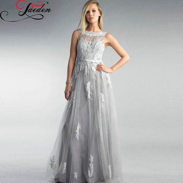 >> Click to Buy << JAEDEN Custom Made Long appliques lace gray evening Dresses Elegant open back sexy Prom Dresses cheap price form party dress #Affiliate