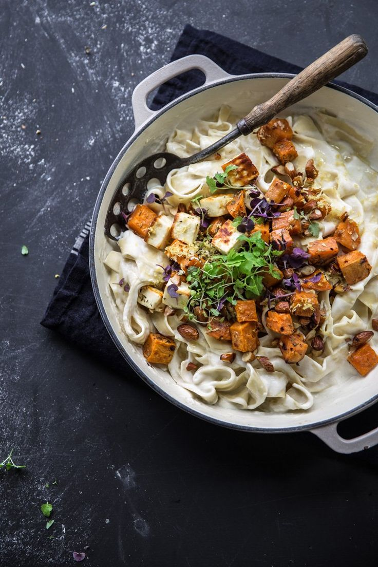 Creamy Sweet Potato And Halloumi Pasta