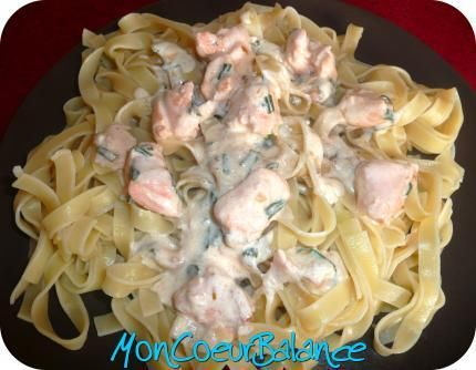 Recette de Tagliatelles au saumon (weight watchers propoints) total 9 pp  150g de saumon 4,5pp 100g de pates 3pp 1 cs d'huile d'olive 1pp 2 cs de creme fraiche 15% 1pp 1 cc citron 0 pp Echalotes et ciboulettes 0pp 1 cs de vin blanc 0pp