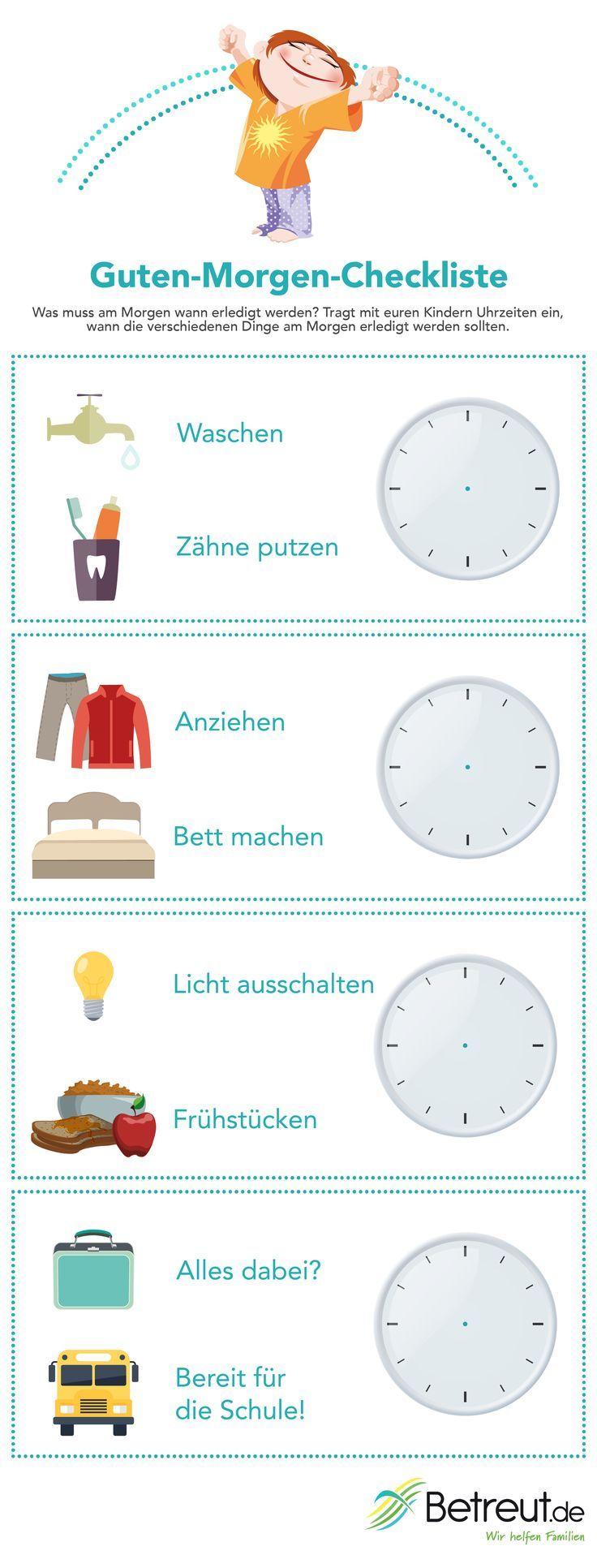 Gähnen, strecken und raus aus den Federn! Auf unserer Guten-Morgen-Checkliste zum Ausdrucken könnt ihr und eure Kinder eintragen, was in der Früh zu welcher Uhrzeit erledigt werden soll.