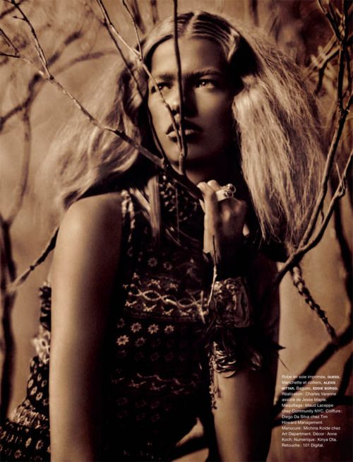 Hailey Clauson embracing the tribal trend in this shot for Numéro #124.