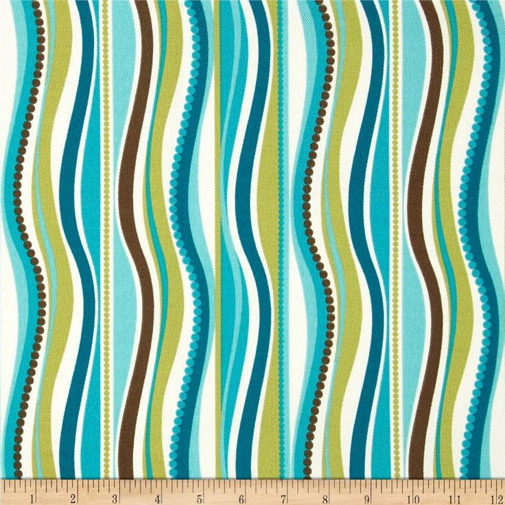 Terrasol Indoor Outdoor Wave Peacock Fabric By The Yard