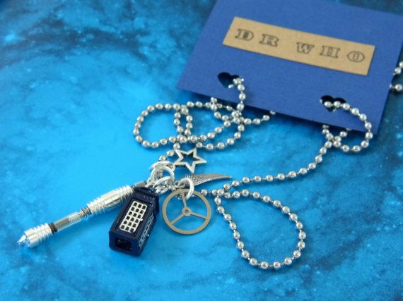 Dr Who Sonic Screwdriver & Tardis Pendant Necklace Time Lord