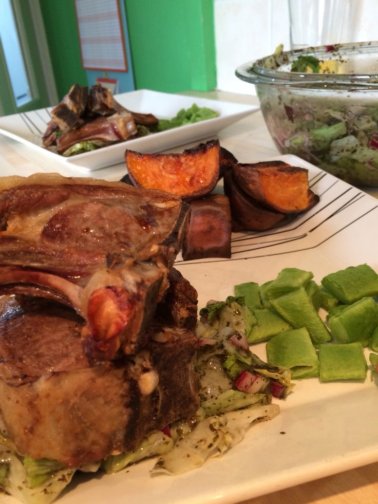 My own recipe: Lamp chops with minted bean salad & sweat potato wedges