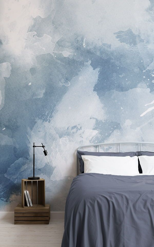 Blue And White Grunge Paint Watercolour Wallpaper In 2020 Luxury
