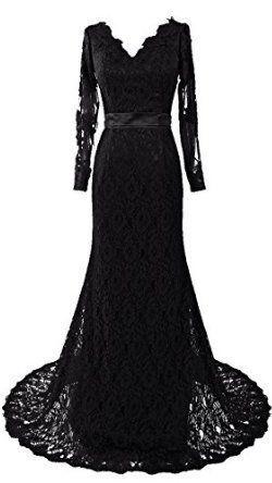 floor lenght black lace gown <3
