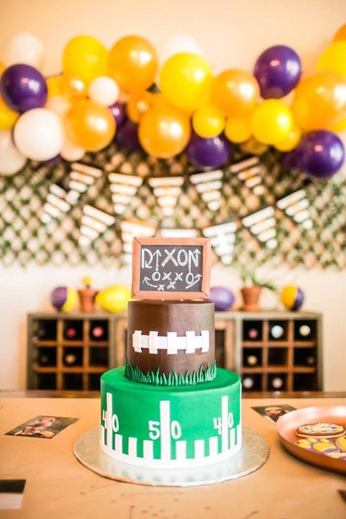 Football cake from a LSU Football Party on Kara's Party Ideas | KarasPartyIdeas.com (7)