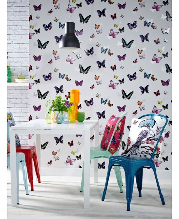 This beautiful Bahia Butterfly wallpaper features an array of colourful butterflies in a gloss finish set on a white background patterned with metallic silver butterfly silhouettes. Easy to apply, this high quality wallpaper would look great as a feature wall or equally good when used to decorate a whole room.