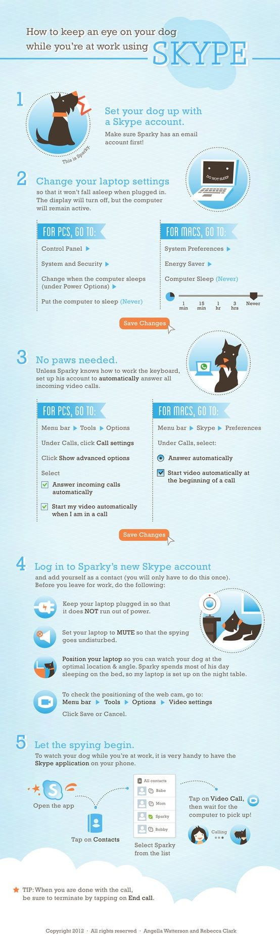 Use Skype To Watch Over Your Dog/Cat While You're at Work | Infographic: You need to create an email for your pet & an account :) | via The Book Recruitment Agency Blog