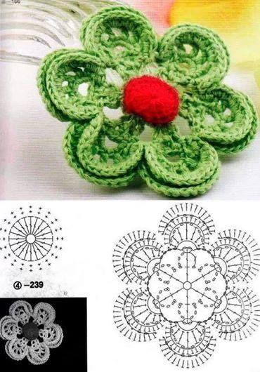 Flor de ganchillo - Crochet flower with diagram.