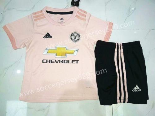 cd2cbefa366 2018-19 Manchester United Away Pink Kids Youth Soccer Uniform ...