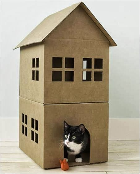 Cardboard cat house   - 20 Creative and Useful DIY Cardboard Projects