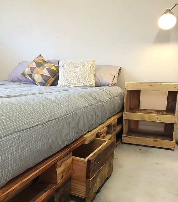 Furniture. Bed Base. Queen. With Storage Space. Rustic.