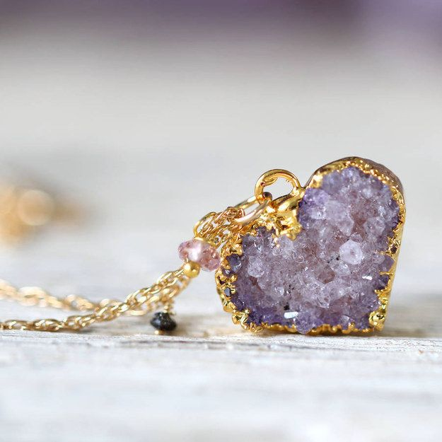 This exquisite crystal heart. | 23 Teeny Tiny Amethyst Necklaces That Are Delicate AF
