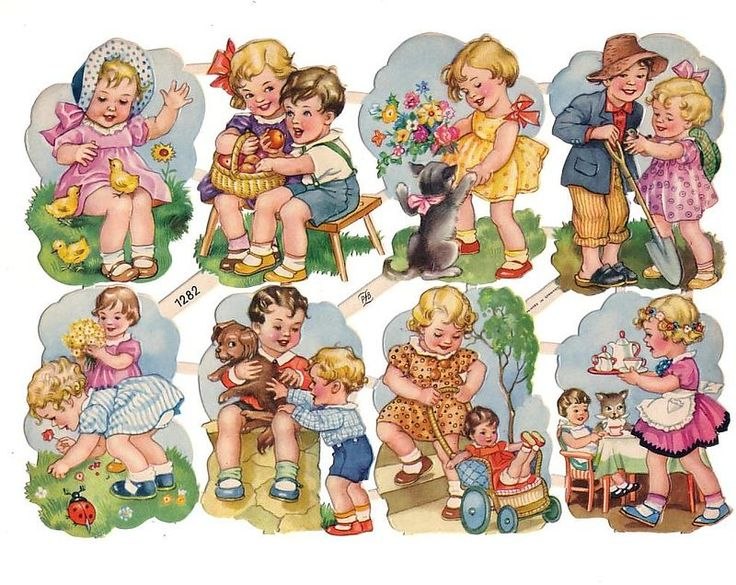 blog with images  Vintage Die-cut Scrap Children Playing pzb (Image1)