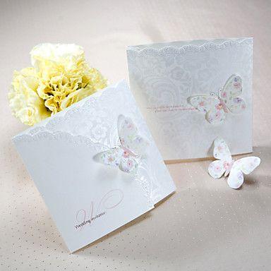 Våren sommerfugl tri-fold bryllup invitasjon (sett av 50) – NOK kr. 327