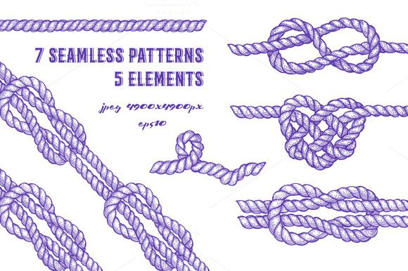 Set with ropes and knots by Cute sketch art on @creativemarket