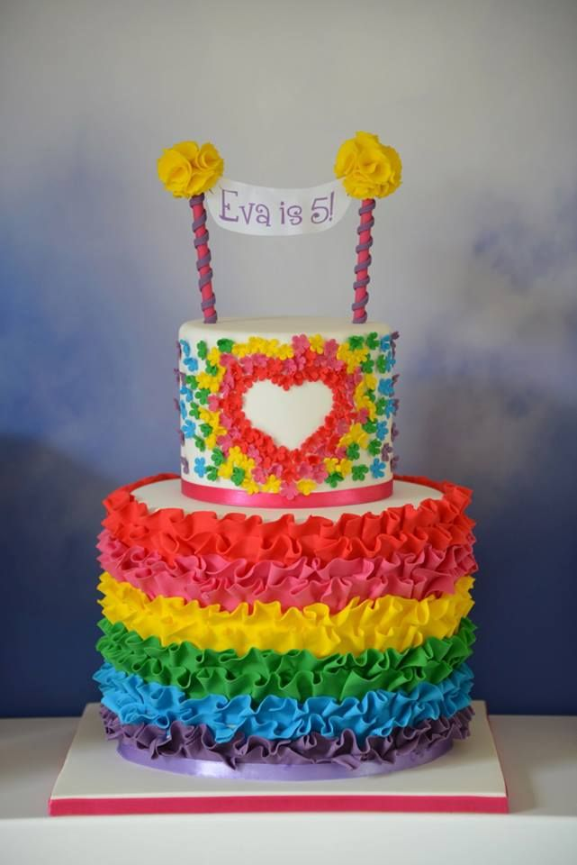 ~ Rainbow Ruffle Cake ~                                                                                            So perfect for any child's birthday! Actually, I'd love one!
