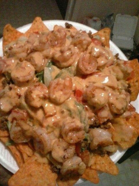 pinterest: @chicpeaach ♡ loaded shrimp nachos