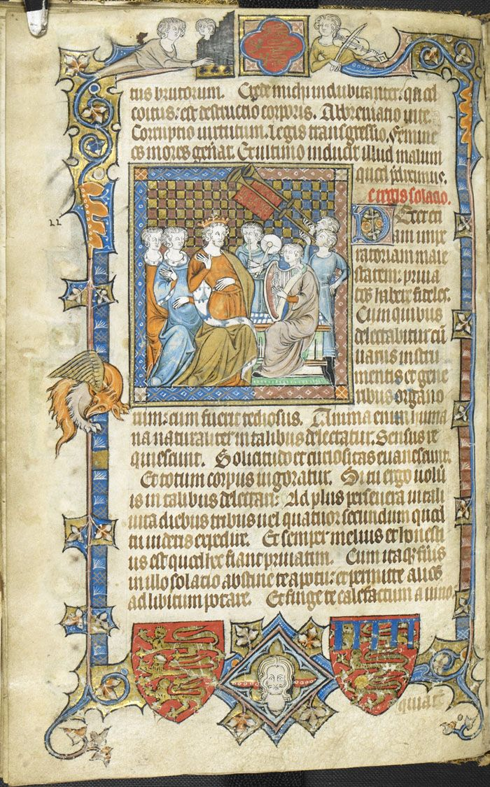 Miniature of musicians performing before Alexander the Great; from Secretum Secretorum, translated by Philip of Tripoli, England (London), 1326-1327, Add. MS 47680, f. 18v