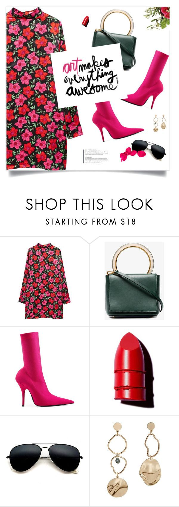 """""""Spring"""" by magdafunk ❤ liked on Polyvore featuring MANGO, Marni, Balenciaga, Anastasia Beverly Hills, Guide London, hotpink, floraldress, pinkboots and spring2018"""