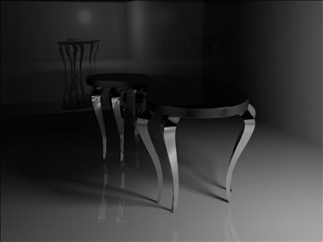 black and silver table 3D Model-   this table is black from the top and glossy,the edges are fillet,the legs are designed in a unique way,legs are made of plexi glass - #3D_model #Other Cookware and Tableware
