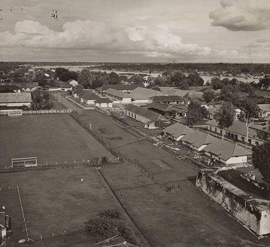 Stadgezicht op Palembang uit luchtfoto 1938-1939.