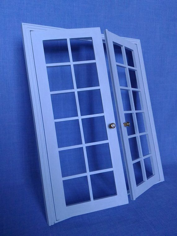 French Doors For 12 Inch Doll 1 6 Scale Bed Barbie Size French Doors Wooden French Doors Dolls