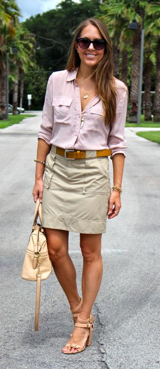 Blush silk top with cargo skirt... I wore a cargo skirt today as well! Ha ha, I like it here with the neutral top.