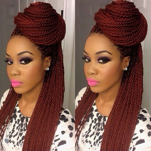 Red Senegalese Twist,box Braids With Color