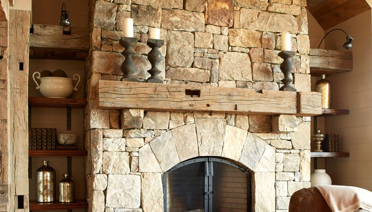 Stone Fireplace Recessed Shelves Reclaimed Mantel