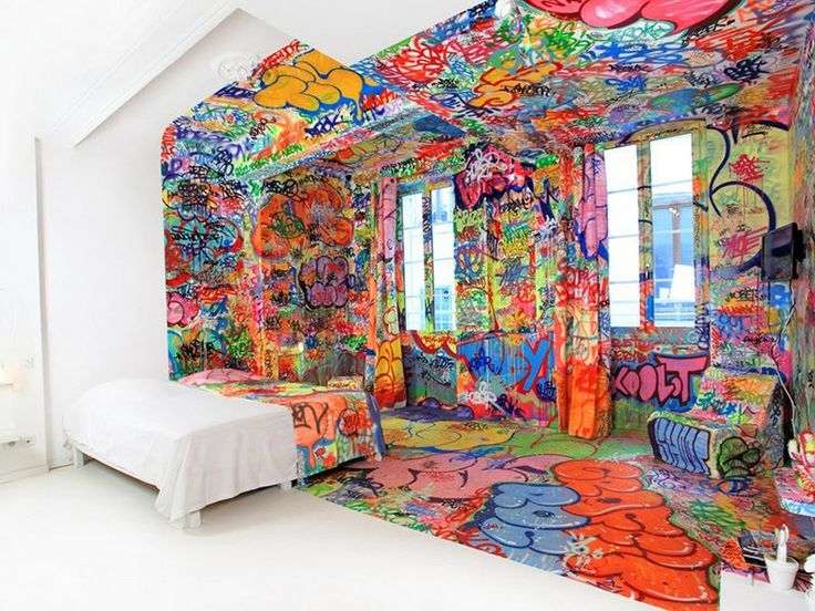 Graffiti artist Tilt has created Panic Room inside the Au Vieux Panier hotel in Marseille, France. One half of the room is covered in Tilt's Graffiti, while the other is crispy clean white.