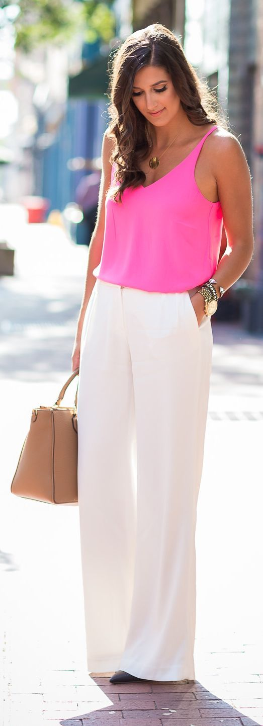 Wowza!! These pants! ❤️A Southern Drawl Pink Tank White Wide Leg Pants