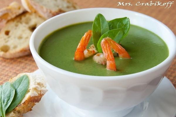 Суп из шпината с креветками 1