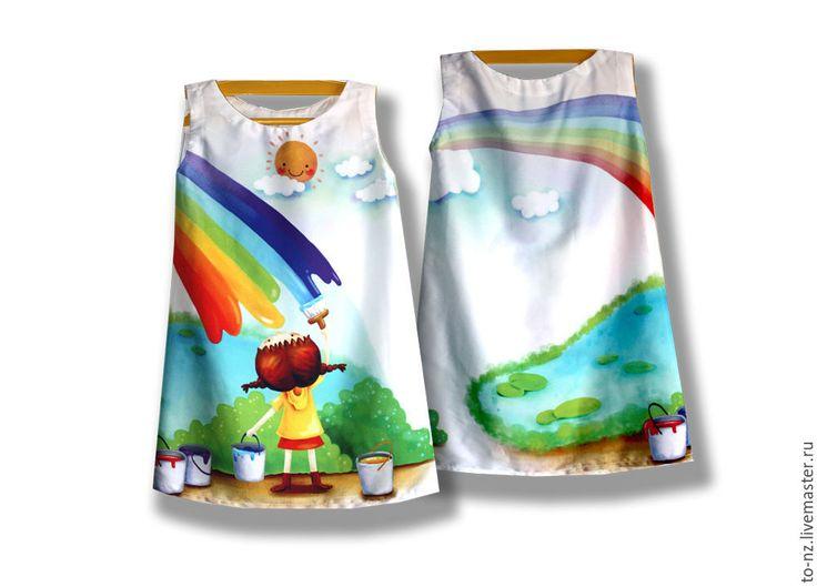 """Handmade dress for girl /  Платье для девочки """"Нарисованная радуга"""" фотопринт - комбинированный, рисунок, платье, сарафан, туника, девушке"""