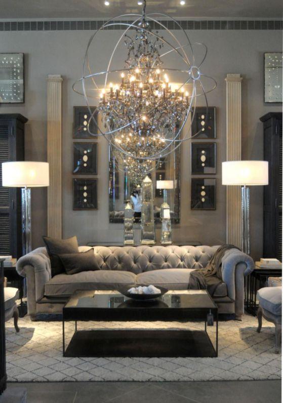 Symmetrical Interior Design 15 | Modern glam living room ...