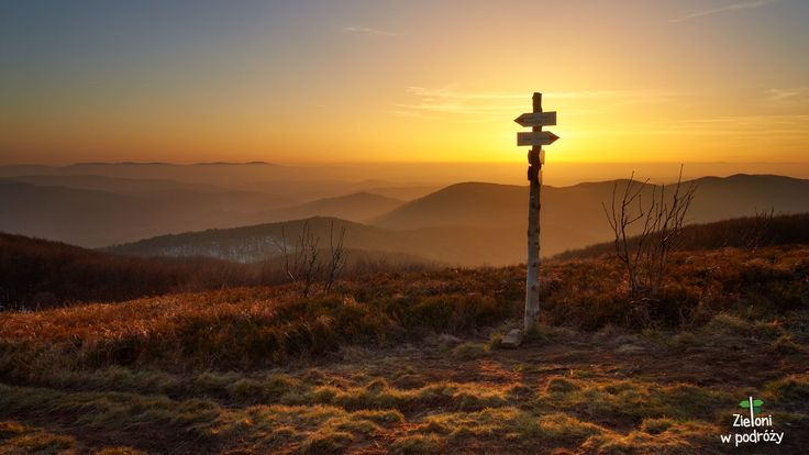 Sunset in Bieszczady Mountains.