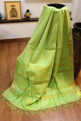 Pista green silk saree with blouse Silk Sarees