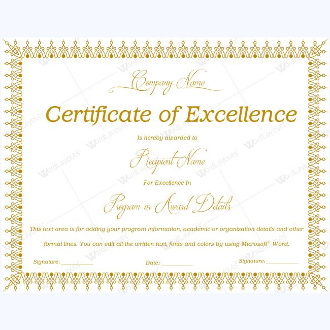 16 best Certificate of Excellence templates images on Pinterest - microsoft word award certificate template
