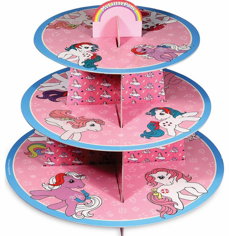 MY Little Pony Cupcake Stand We are totally drooling over this adorable My Little Pony themed cake stand with original retro imagery! With simple, self assembly you can show off your wonderful bakes in fab, cutesy, retro style! http://www.comparestoreprices.co.uk/t-shirts/my-little-pony-cupcake-stand.asp