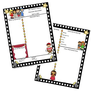 movie theater classroom theme | Hollywood themed newsletter template now available at my Teachers Pay ...
