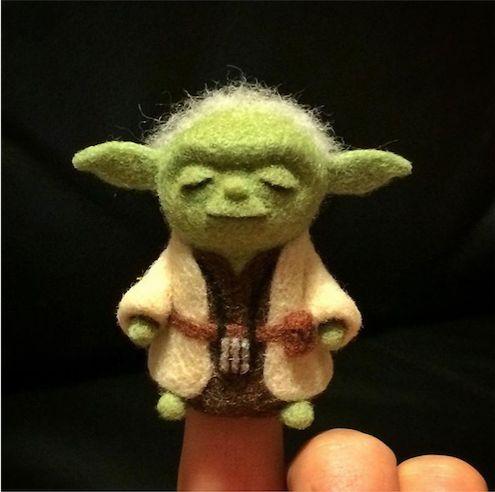 Handmade cute Needle felting project wool Master Yoda Star war(Via @masanyi)